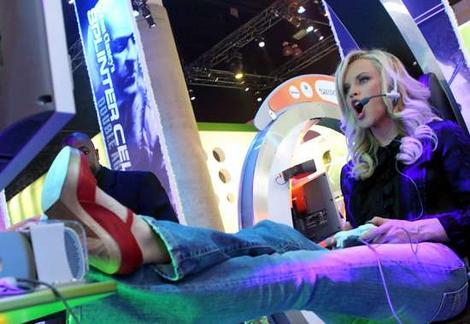 Jenny McCarthy really getting into a game of Marble Blast Ultra
