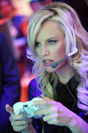 Jenny McCarthy is focused on playing a session of Xbox Live's
