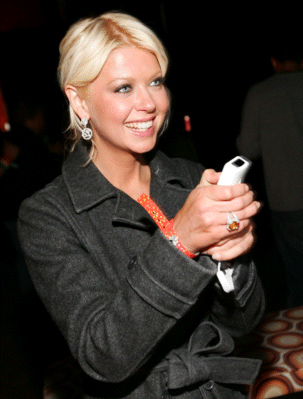 Tara Reid played Wii games at the Motorola Late Night Lounge at Sundance